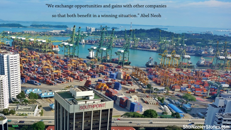 Shipping port in Singapore | Abel Neoh from Mainzsq in Singapore running a small business that sells electronic gadgets through ecommerce in an interview with Shopkeeper Stories