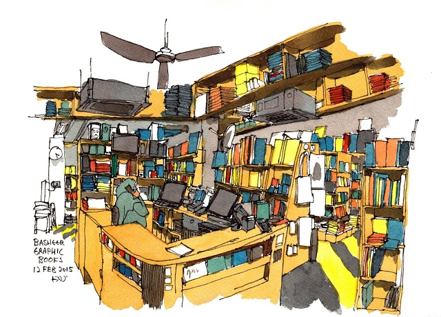 Illustration of Basheer Graphic Books - a bookstore in Singapore at Bras Basah Complex | Illustration by by Teoh from http://www.parkablogs.com | A series on bookstores by ShopkeeperStories.com